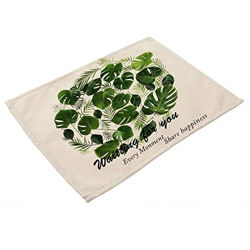 Agordo Green Leaf Printed Linen Placemats for Kitchen Washable Table Mats Non-Slip - Card Scalloped Frame Place