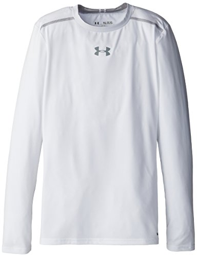 Under Armour Boys' Heatgear Sonic Fitted Long Sleeve Top White / Steel Large