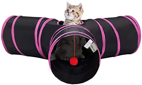 Tempcore Cat Tunnel, Cat Tunnels for Indoor Cats, Tube Cat Toys 3 Way Collapsible, Kitty Tunnel Bored Cat Pet Toys Peek Hole Toy Ball Cat, Puppy, Kitty, Kitten, Rabbit