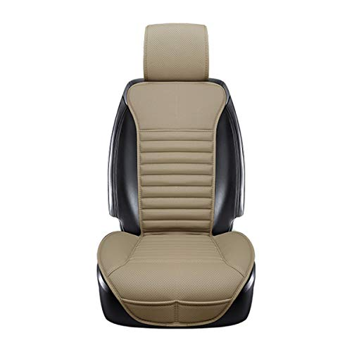 Waistline Leather - DINKANUR Car Seat Protector PU Leather Bamboo Charcoal Car Interior Seats Suit for Most Cars with slim Waistline Backrest (1 PCS )(beige)