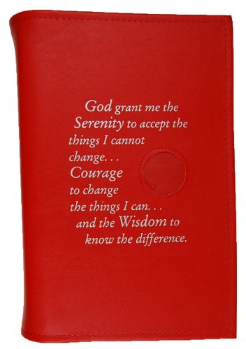 - Alcoholics Anonymous AA Big Book LARGE PRINT Cover Serenity Prayer Medallion Holder RED