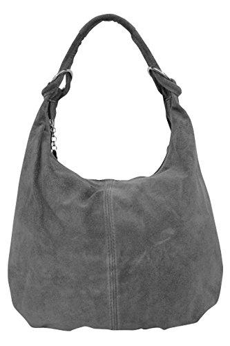 AMBRA Moda - Bolso al hombro de Ante para mujer XX-Large antracita