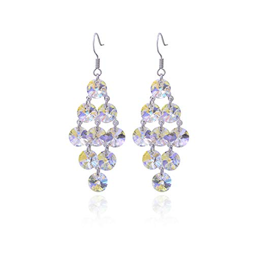 Swarovski Crystal Chandelier Earrings Women's Big Long Statement Filigree Sterling Silver luxurious Round Crystal Cubic Zirconia CZ Cluster Dangle Earrings for Wedding Party Prom Gala Jewelry ()
