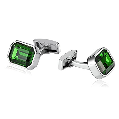 Aokarry Cufflinks for Men Suitable for Business Anniversary Wedding Stainless Steel Polygon Clear Cuff Links Green (Cufflinks Steel Stainless Anniversary)