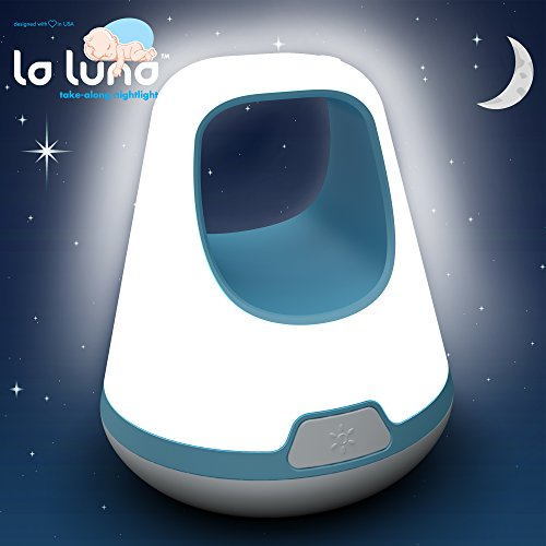 La Luna Kids Night Light – Take Along Portable LED Toddler Night Light – Three Brightness Settings; Automatic Gradual Fading Shut-off after 30 Minutes – Long Lasting Rechargeable Battery Children Lamp