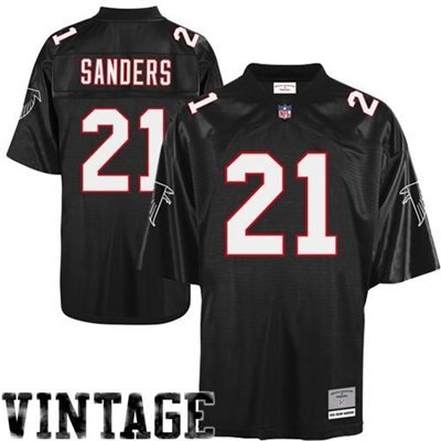 Black Nfl Premier Jersey - Atlanta Falcons Deion Sanders Premier Throwback Mitchell Ness Replica Black Jersey (Medium)