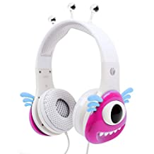 Colourful Pink and White Children's Monster Headphones For Vtech DigiGo Kids Tablet
