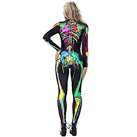 Jomedesign Halloween Costumes For Women 3d Skeleton Cosplay Jumpsuit Bodysuit