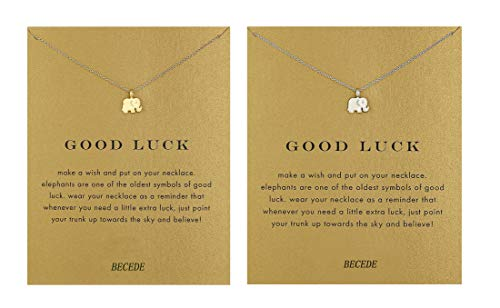 (BECEDE Friendship Clover Necklace Unicorn Good Luck Elephant Necklace with Message Card Gift Card(2pack) (Elephant Gold&Silver))