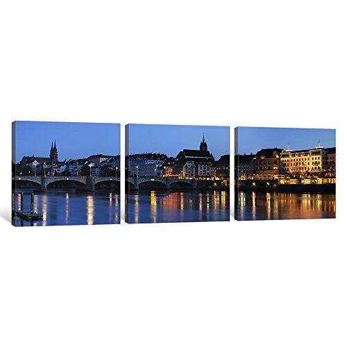 iCanvasART 3 Piece Bridge Across a River with a Cathedral in The Background, Mittlere Rheinbrucke, St. Martin's Church, River Rhine, Basel, Switzerland Canvas Print by Panoramic Images, 0.75 by 36 by 12-Inch (Rhine River Framed)