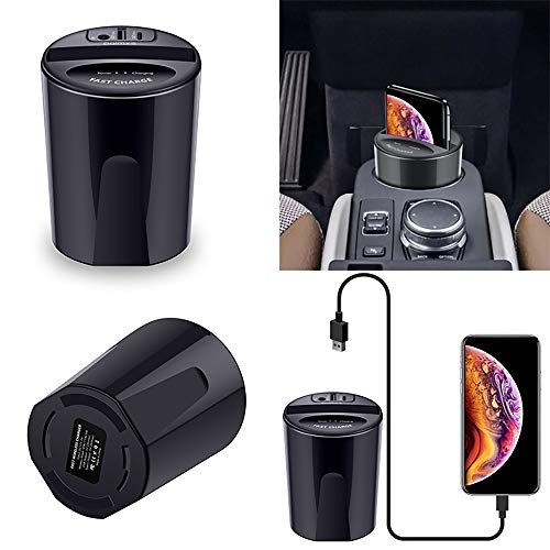 m·kvfa Wireless Car Charger Fast Car Cup with USB Output Charger Phone Stand Holder 10W X9 Wireless Fast Charging Dock for Xs Max/Xr/X/8 Plus for Samsung Galaxys S7+/S8/S8 Plus/S9/S9+/Note9 Coaster Air Jacket Liner