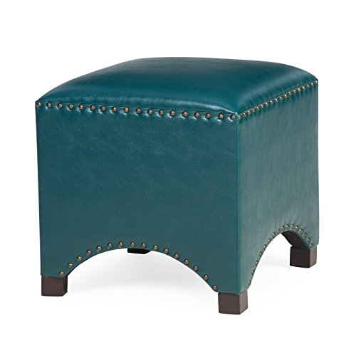 (Contemporary Tristan Premium Bonded Leather Square Cube Ottoman Footstool Footrest Nailheads Accent Furniture Choose Color (Teal Blue))