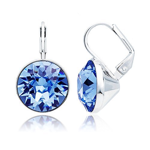 MYJS Bella Drop Earrings Rhodium Plated with Light Sapphire Swarovski Crystals Exclusive Limited ()