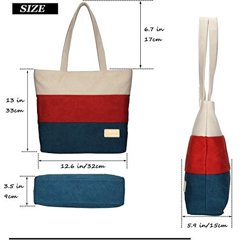 Bag Travel Shoulder Canvas For Blue Hand Bags Top Beach Tote Flada And Handle Women's Orange AfqwwC0