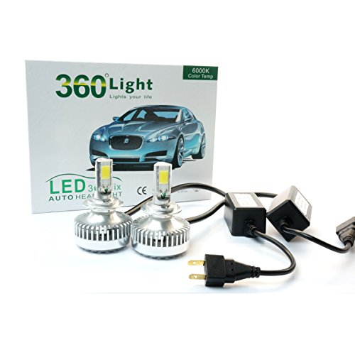 Cooling Audi A4 2000 (JLM 360° H7 5000K(Daylight) LED Headlight Conversion Kit 70W (35Wx2) 6000lm combine output COB LED w/Heat Sink+Cooling Fan)
