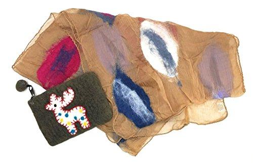 Felted Silk Long Art Scarf Plus Wool Felt Animal Design Clutch Purse Set (Cocoa/Reindeer)