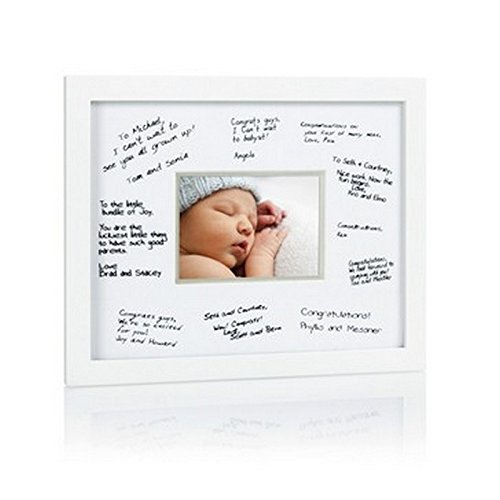 Pearhead Signature Frame Guest Book - Perfect for Any Baby Registry, Includes Mat for Guests to Leave Well-Wishes- Great for Celebrating Baby Showers, Birthdays or Any Special Event, White (Best Wishes For First Birthday)