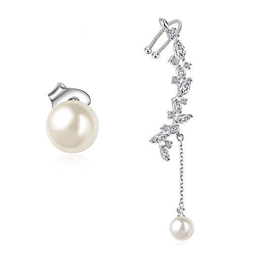 Orris Sterling Silver Pearl Flower Mismatched Ear Cuff Wrap Clip Stud Set Earring