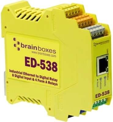 BRAINBOXES ED-538 Brainboxes ED-538 Ethernet to 4 Relays and 8 Digital Inputs 4 Form A Relays RS485 Gateway 8 Digital Inputs and an RS485 Gateway Port