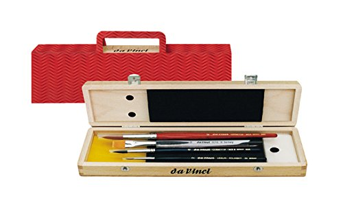 da Vinci Watercolor Series 5260 Deluxe Paint Brush Set, Synthetic with Wooden Storage Box and Brush Soap, Multiple Sizes, 4 Brushes (Series 18, 36, 5530, 5580) (Box Wooden Brush)