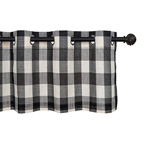(Creativesfun Black White Check Curtain (Black & White, Valance 丨W53 X L12-INCH))