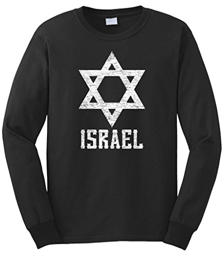 Cybertela Men's White Israel Star Long Sleeve T-Shirt (Black, X-Large)