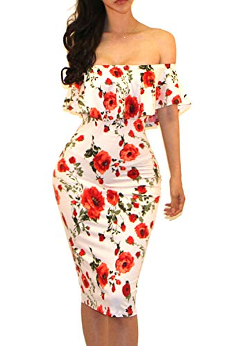 (Vivicastle Women's Off Shoulder Ruffle Bodycon Fitted Midi Dress (Medium, G60,Cream/red))