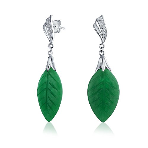 Asian Inspired Carved Leaf Green Dyed Jadeite Jade Dangle Drop Earrings For Women 925 Sterling Silver