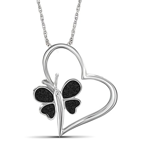 Jewelexcess Black Diamond Accent Sterling Silver Heart And Butterfly Pendant Diamond Accent Butterfly Pendant