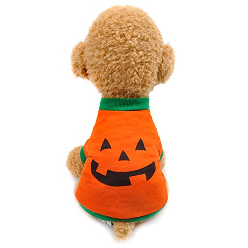 Halloween Costumes for Dogs,Soft Cotton Pumpkin Clothes for 2-11 LB Cats Teddy Poodle Bichon Frise Pomeranian