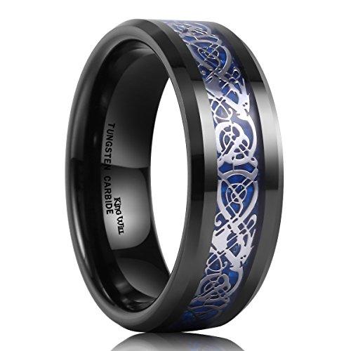 King Will Mens 8mm Black Tungsten Carbide Ring Blue Carbon Fiber Celtic Dragon Wedding Band(8.5) (Platinum Celtic Bands compare prices)