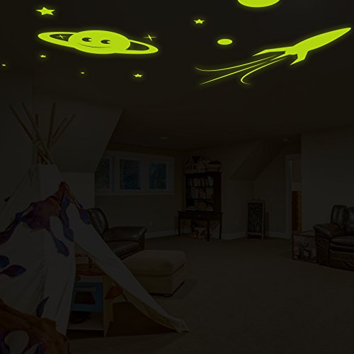 ( 94'' x 64'' ) Glowing Vinyl Wall Decal Planet, Rocket, Stars / Glow in the Dark Sticker / Сrescent Luminescent Mural Kids, Baby Room + Free Decal Gift! by Slaf Ltd. (Image #2)