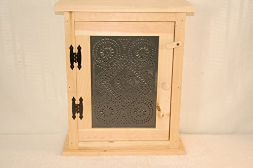 Unfinished Spice Rack with Black Metal Tin Front. Measures: 18'' X 8 X 21'' Tall. by Kenzie's Kreations