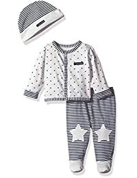 Calvin Klein Baby Boys' Footed Pant Set, Oatmeal/Navy, 3-6 Months