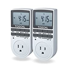TOGOAL TE02(DT1800) Digital Light Timer Plug with 3-prong Outlet, 24/7 Programmable Indoor Electrical Switch with Anti-theft Random Option,2 Packs (15A, 1800W)