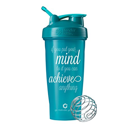 Motivational Quotes on Blender Bottle Brand Shaker Bottles, 20oz and 28oz Protein Shakers, Fitness Gift, Multiple Designs and Colors Available (Achieve Anything - 28oz - Teal)