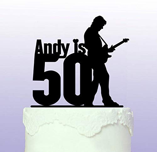 Personalised 50th Guitarist Cake Topper by Tamengi