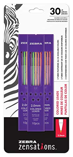 (Zebra Zensations Mechanical Colored Pencil Lead Refill, 2.0mm Point Size, Assorted Colored Lead, 30-Count)