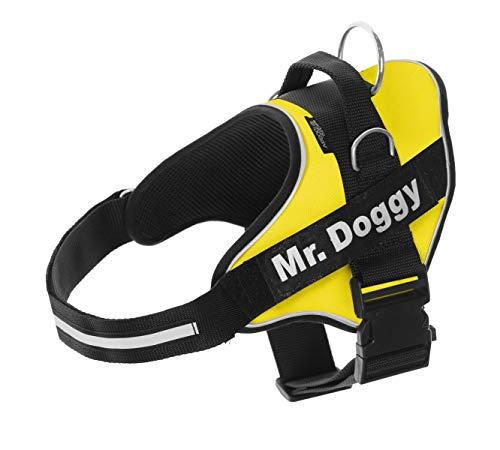 🥇 Mr.Doggy Arnés Personalizado para Perros – Reflectante – Incluye 2 Etiquetas con Nombre – Todos los Tamaños – De Calidad y Resistente