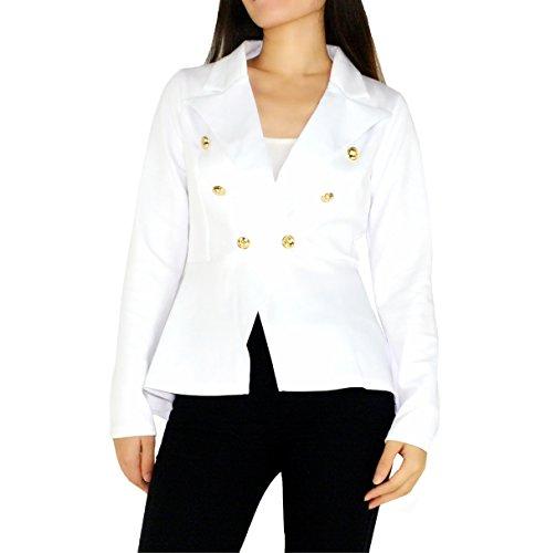 (YSJERA Women's Peplum Blazer Open Front High Low Ruffle Hem Office Business Suit Jackets)