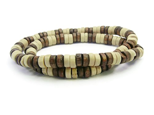 [APECTO 8mm Natural Wood Beads Surfer Beach Elastic Necklace, NMN2] (Party Rock Crew Costume)