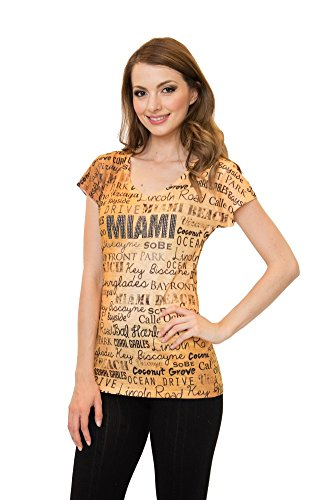 Sweet Gisele Miami V-Neck T-Shirt Featuring Popular Miami Drop Names Decorated with Blingy Rhinestones (Sweet Tampa)