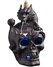 Skull Décor Backflow Incense Burner, LED Dragon Waterfall Incense Holder with 20 Cones, Ceramic Gothic Smoke Fountain for Halloween