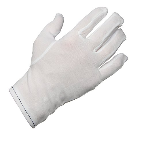 AMMEX - NIG-L - Lint Free Nylon Inspection Gloves - 12 pairs/package; 12 packs/case, Large, White (Case of 144 Pairs)