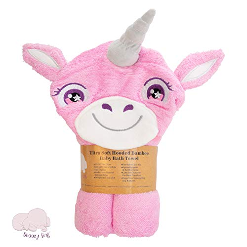 Super Absorbent Hooded Bamboo Bath Towel, Luxury Baby Gifts for Boy or Girl, Great for Infants to Toddlers - Snoozy Bug (Unicorn)