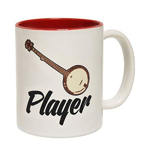 (Funny Mugs Banned Member Banjo Player Band Rock Pop Guitar Bass Drum Concert Gig Red Inner Two Tone Novelty Mug Secret Santa Present Boxed Coffee Mug)