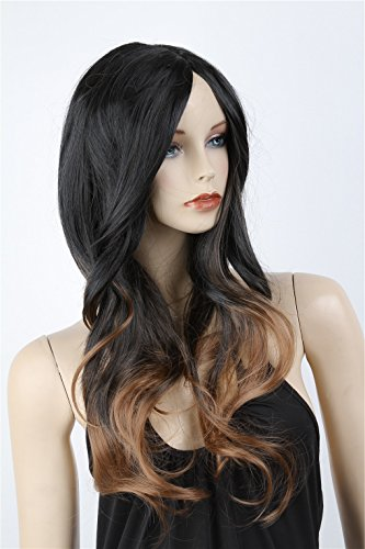ATOZWIG Long Two Tone Black and Brown Ombre Wigs Celebrity Wig for Women Big Wave Female Wavy Wig Heat Resistant Cosplay (Celebrities Wig)