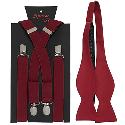 Spencer J's Self Tie Bowtie and Suspender set Variety of Colors (Apple Red) ()