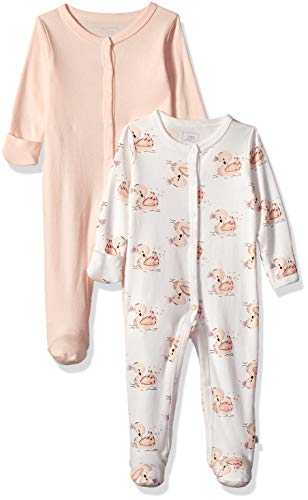 Rosie Pope Kids' Toddler Baby Girls' 2 Pack Coveralls, Swans, 0-3 Months