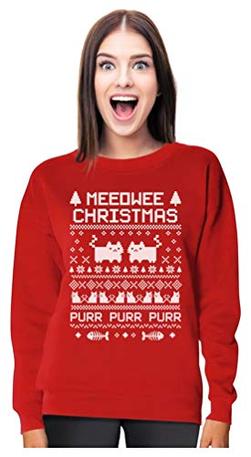 Cat Ugly Christmas Sweater - TeeStars - Meeowee Christmas Ugly Sweater